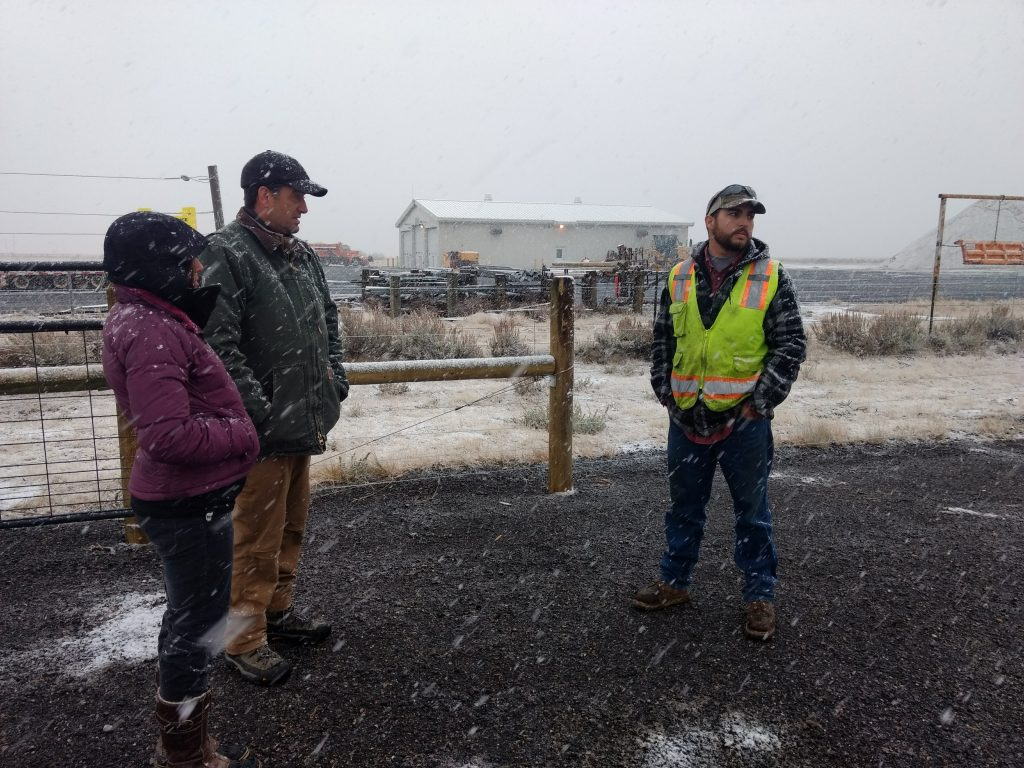 BHWC staff & partners hold a frigid planning meeting at the compost site, November 2017.