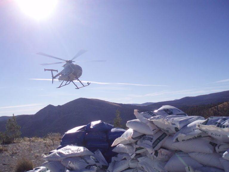 FWP helicopter delivered 4000 lbs of organic nitrogen fertilizer to the uplands