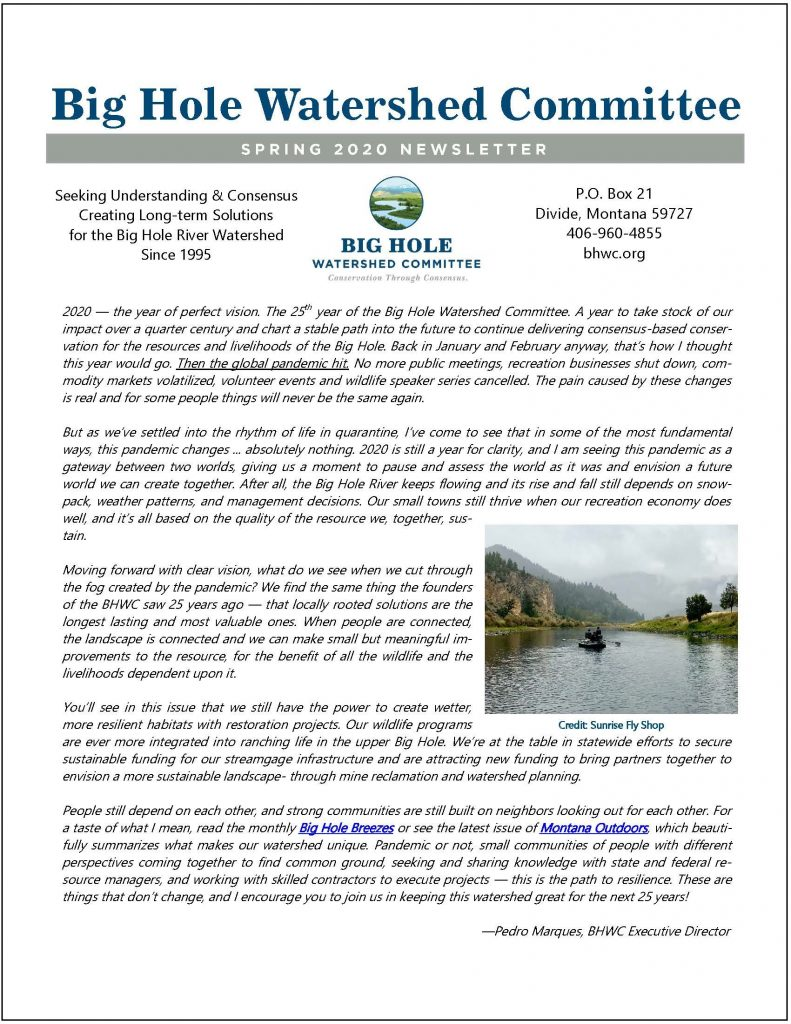 Newsletter front page.